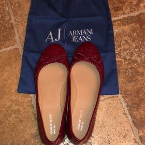 Ladies size 8 Armani jeans patent ballet flat
